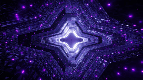 glowing neon points on a futuristic science fiction alien space ship tunnel - a Animation