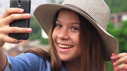 Pretty Female Teen Taking Selfy Live Action