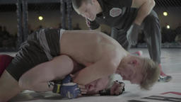 MMA. Slow motion. Fighting in a cage Footage