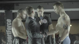 MMA. Men fighters in the cage before the fight Footage