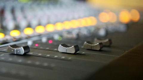 Closeup Musical Mixing Consol Guy Hand Touches Faders Footage