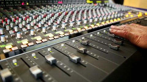 Closeup Musical Mixing Console Faders Move Footage