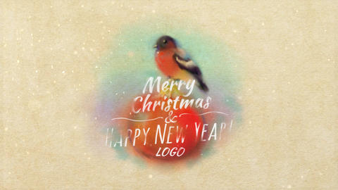 Christmas Card With Bullfinch After Effects Template