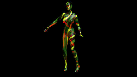 Transparent computer generated 3d female character dancing. Includes black and w CG動画素材