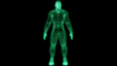 Glowing green man comprised of tiny cubes, explodes into particle swarm Animation