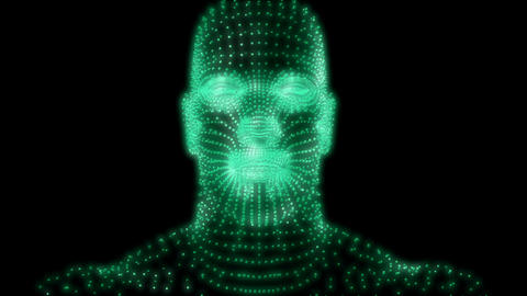 Camera zooms out from head of glowing green man comprised of tiny cubes Animation