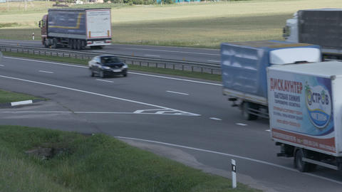 4K Ungraded: Four Trucks Drive on Intercity Highways Live Action