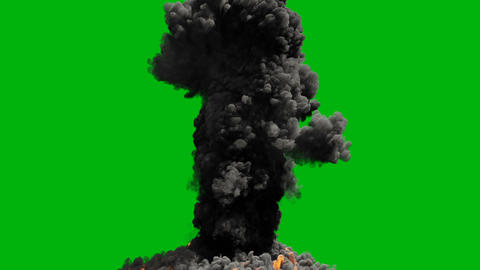 A powerful fire of fuel with a large amount of black smoke. Huge fire with thick black smoke. VFX Animation