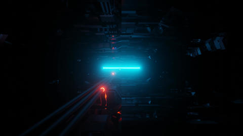 futuristic science fiction space ship alien tunnel corridor with pipes and Animation