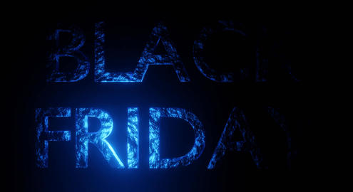 Black Friday Animated Sales Banner Glowing on Black Background Animation