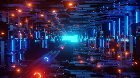 glowing electric pipes with neon lights in a futuristic science fiction tunnel Animation