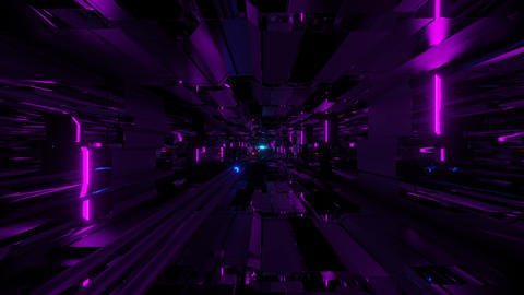 glowing neon pipes in an futuristic science fiction tunnel corridor - the Animation