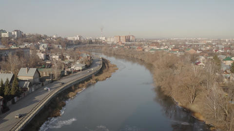 Provincial town in Russia river view. Penza city in Russia, river view. view of Live Action