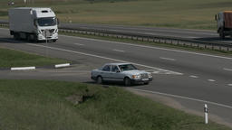 4K Ungraded: White Truck Drives on Intercity Highways Footage