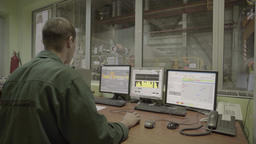 Control room production at the plant. Manager at the factory Live Action