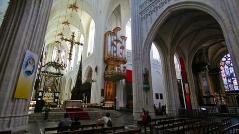 Interior of the cathedral of Our Lady in Antwerp Footage