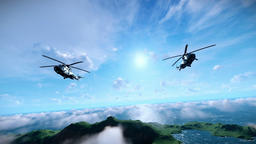 Military helicopter formation flying above clouds Footage