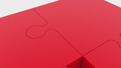 Moving puzzle pieces in red Animation