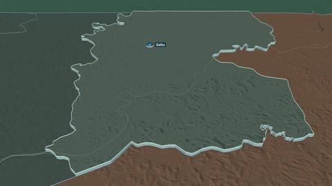 Gabú extruded. Guinea-Bissau. Stereographic administrative map Animation