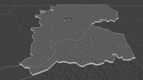 Gabú extruded. Guinea-Bissau. Stereographic bilevel map Animation
