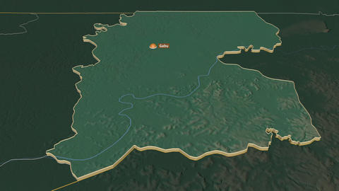 Gabú extruded. Guinea-Bissau. Stereographic relief map Animation