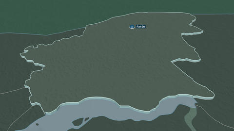 Oio extruded. Guinea-Bissau. Stereographic administrative map Animation