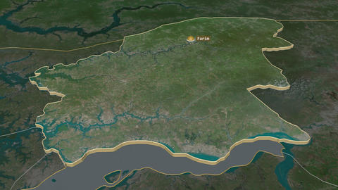 Oio extruded. Guinea-Bissau. Stereographic satellite map Animation