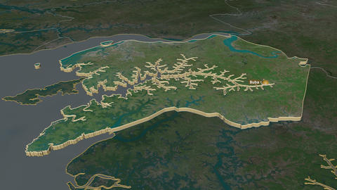 Quinara extruded. Guinea-Bissau. Stereographic satellite map Animation