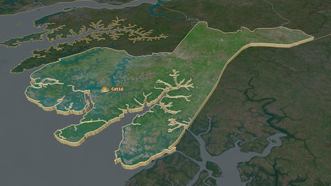 Tombali extruded. Guinea-Bissau. Stereographic satellite map Animation