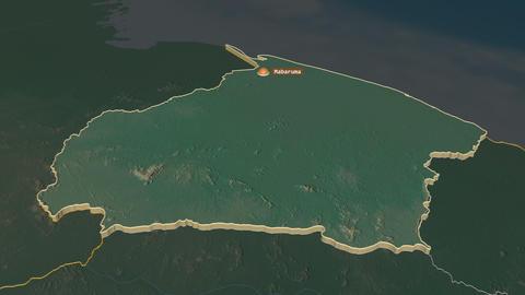 Barima-Waini extruded. Guyana. Stereographic relief map Animation