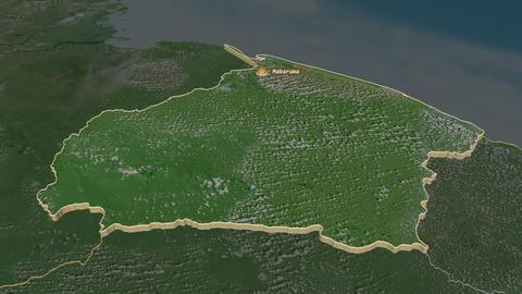 Barima-Waini extruded. Guyana. Stereographic satellite map Animation