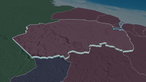 Cuyuni-Mazaruni extruded. Guyana. Stereographic administrative map Animation