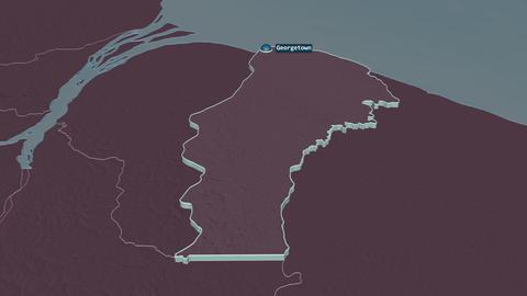 Demerara-Mahaica extruded. Guyana. Stereographic administrative map Animation
