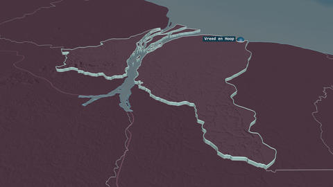 Essequibo Islands-West Demerara extruded. Guyana. Stereographic administrative map Animation