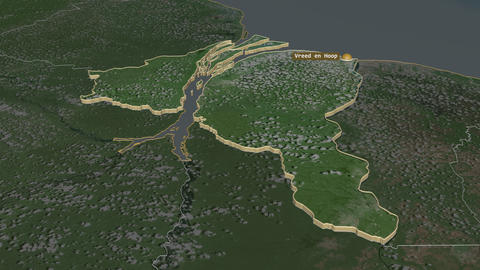 Essequibo Islands-West Demerara extruded. Guyana. Stereographic satellite map Animation
