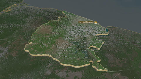 Mahaica-Berbice extruded. Guyana. Stereographic satellite map Animation