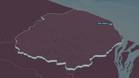 Pomeroon-Supenaam extruded. Guyana. Stereographic administrative map Animation