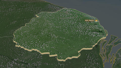 Pomeroon-Supenaam extruded. Guyana. Stereographic satellite map Animation