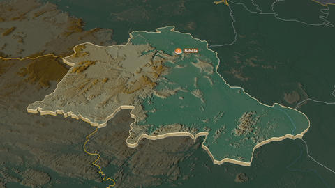 Potaro-Siparuni extruded. Guyana. Stereographic relief map Animation