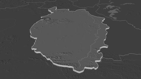 Upper Takutu-Upper Essequibo extruded. Guyana. Stereographic bilevel map Animation