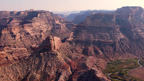 Aerial of the San Rafael River Canyon in Utah Live Action