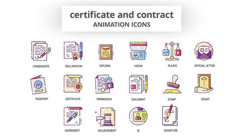 Certificate & Contract - Animation Icons After Effects Template