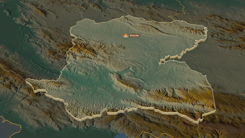 Centre extruded. Haiti. Stereographic relief map Animation