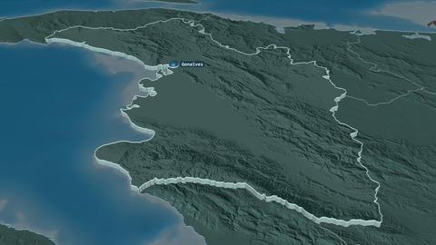 L'Artibonite extruded. Haiti. Stereographic administrative map Animation