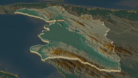 L'Artibonite extruded. Haiti. Stereographic relief map Animation