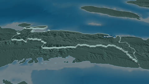 Nippes extruded. Haiti. Stereographic administrative map Animation