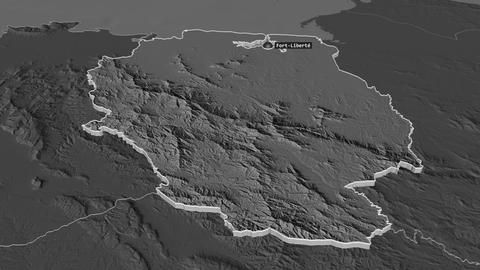 Nord-Est extruded. Haiti. Stereographic bilevel map Animation