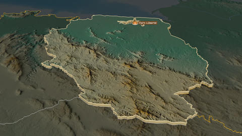 Nord-Est extruded. Haiti. Stereographic relief map Animation