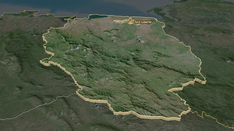 Nord-Est extruded. Haiti. Stereographic satellite map Animation