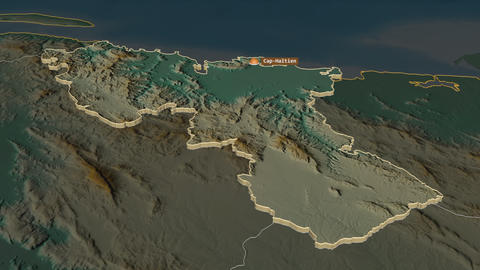 Nord extruded. Haiti. Stereographic relief map Animation